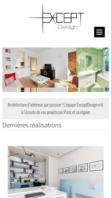 Capture d'écran du site internet Except Design sur iPhone réalisé par Kevin de Sousa