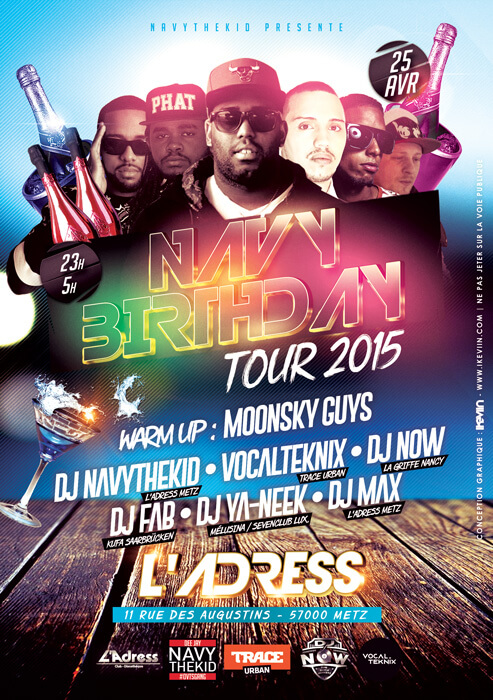 Affiche Navy Birthday Tour 2015 à l'Adress - Metz (Artwork by iKeviin)