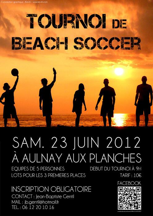 Affiche pour le tournoi de Beach Soccer à Aulnay-aux-Planches (Artwork by iKeviin)