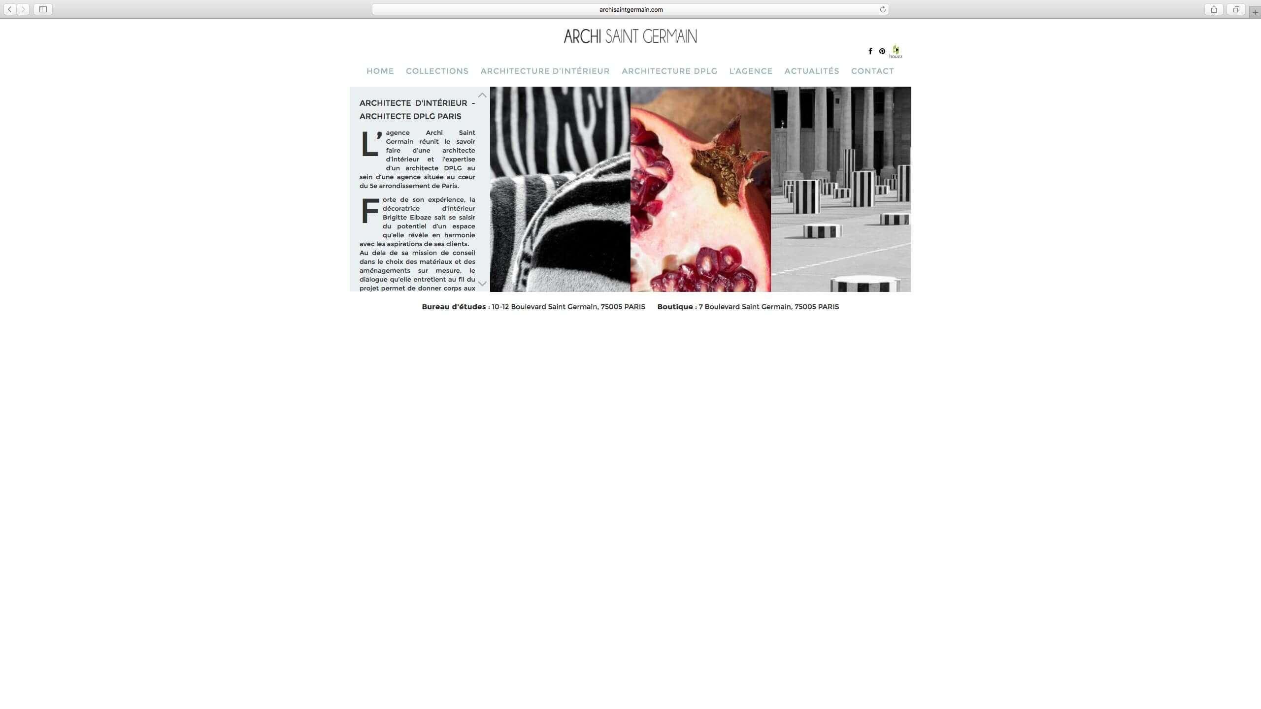 Capture d'écran du site internet Archi Saint Germain réalisé par Kevin de Sousa