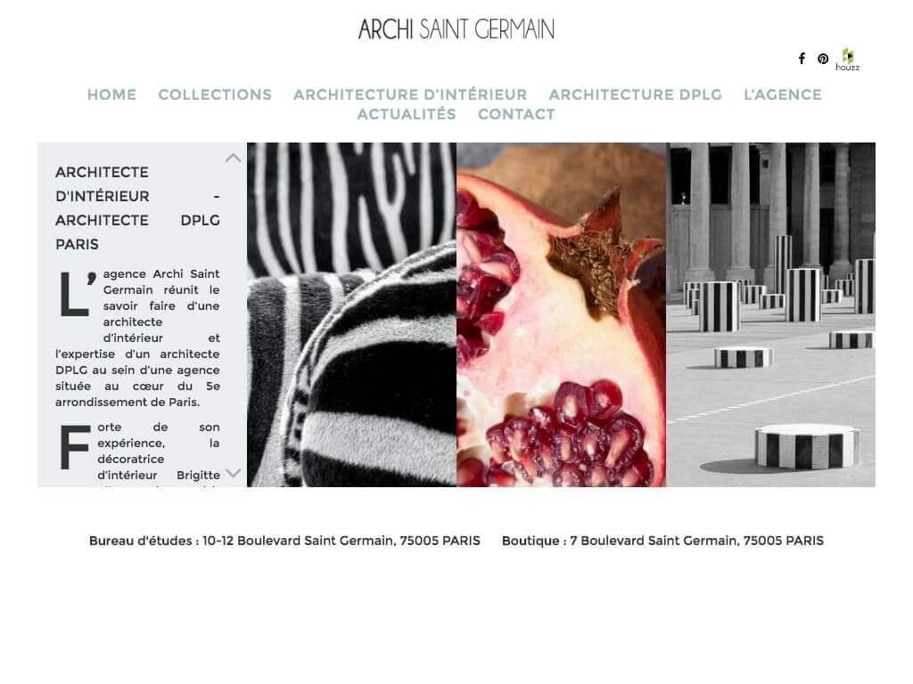Capture d'écran du site internet Archi Saint Germain sur iPad réalisé par Kevin de Sousa
