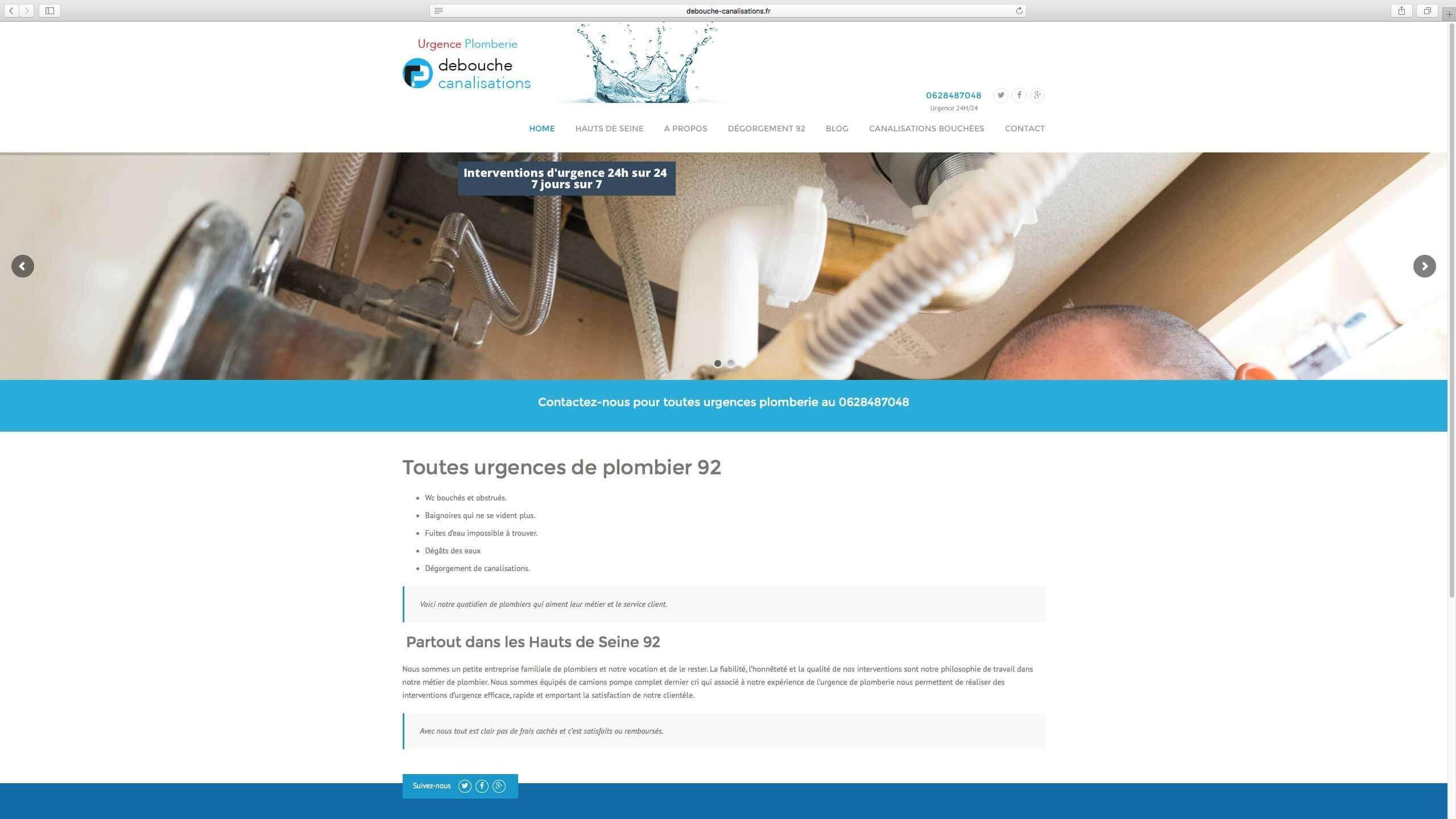 Capture d'écran du site internet Debouche Canalisations réalisé par Kevin de Sousa