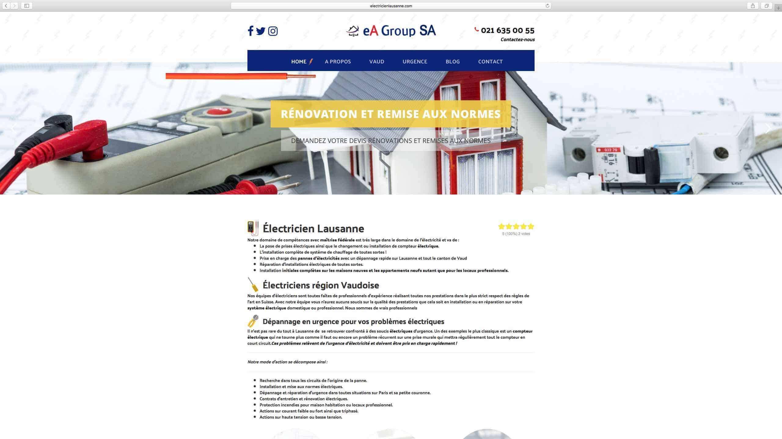Capture d'écran du site internet Electricien Lausanne réalisé par Kevin de Sousa