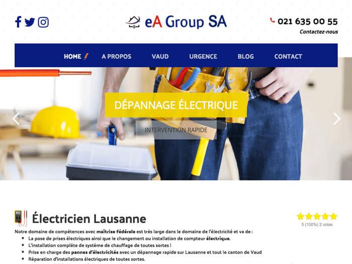 Capture d'écran du site internet Electricien Lausanne sur iPad réalisé par Kevin de Sousa