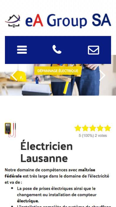 Capture d'écran du site internet Electricien Lausanne sur iPhone réalisé par Kevin de Sousa