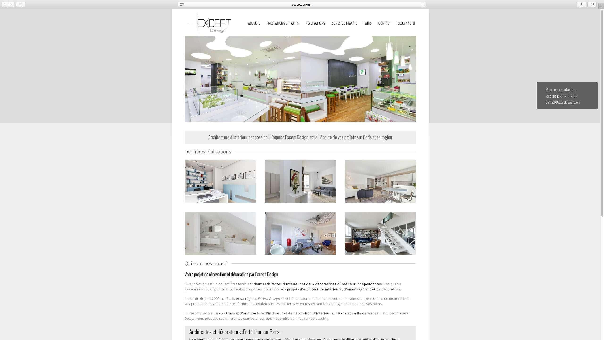 Capture d'écran du site internet Except Design réalisé par Kevin de Sousa