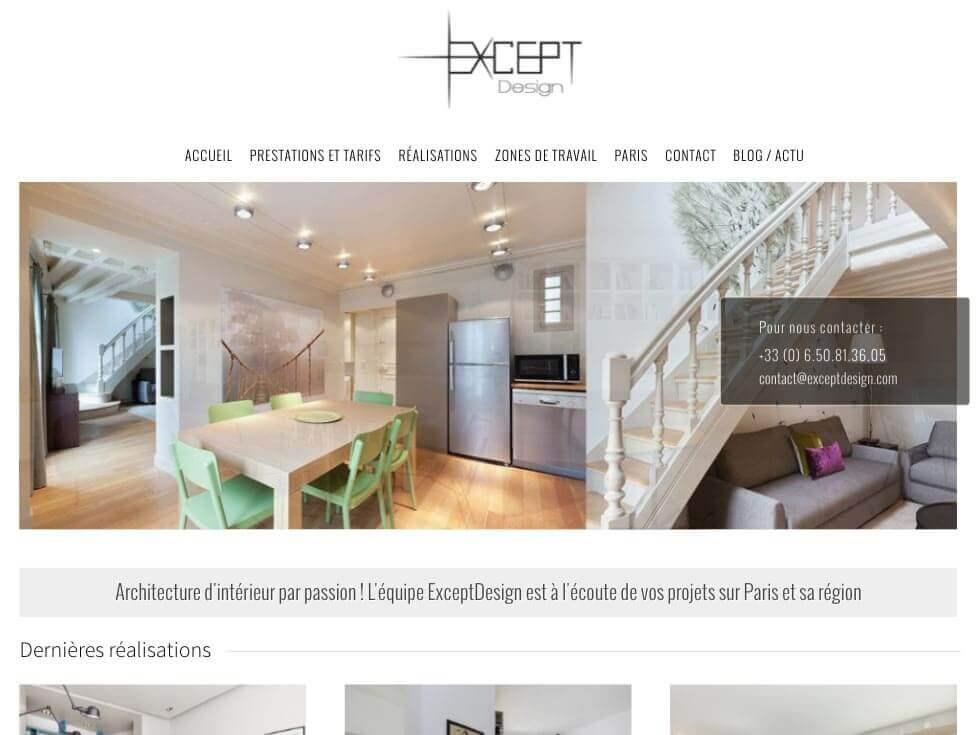 Capture d'écran du site internet Except Design sur iPad réalisé par Kevin de Sousa