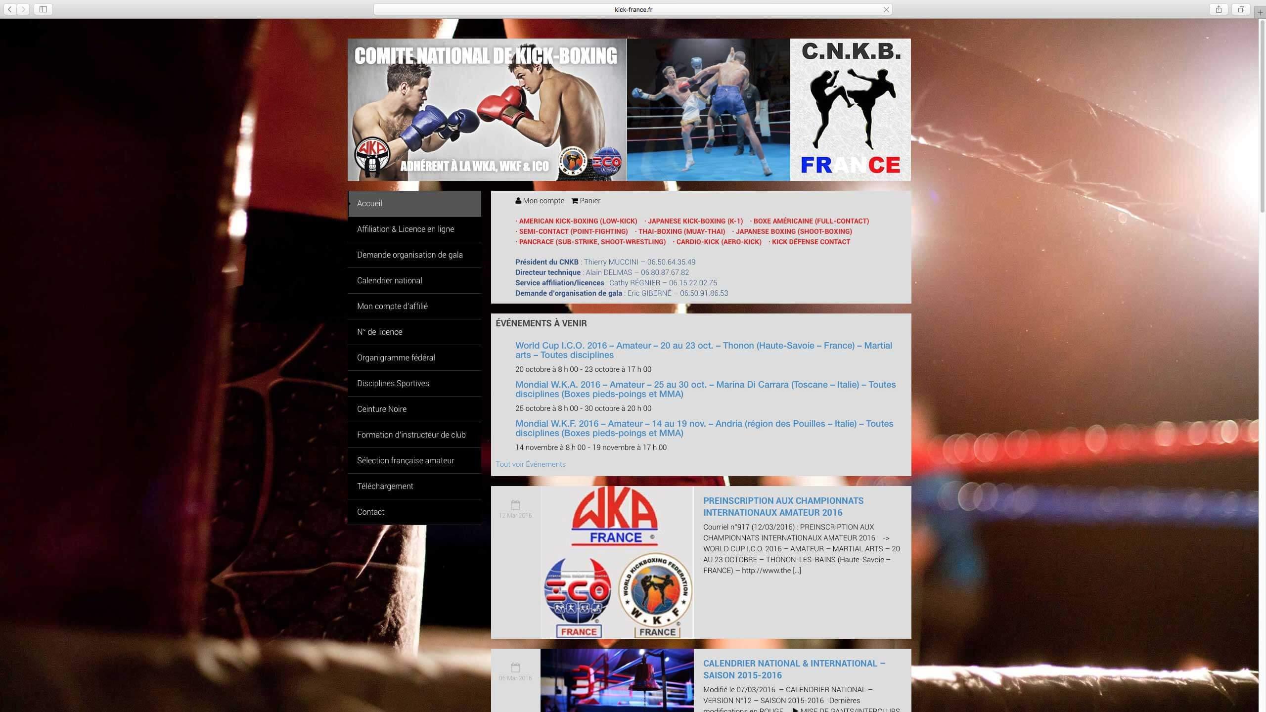 Capture d'écran du site internet Kick France réalisé par Kevin de Sousa