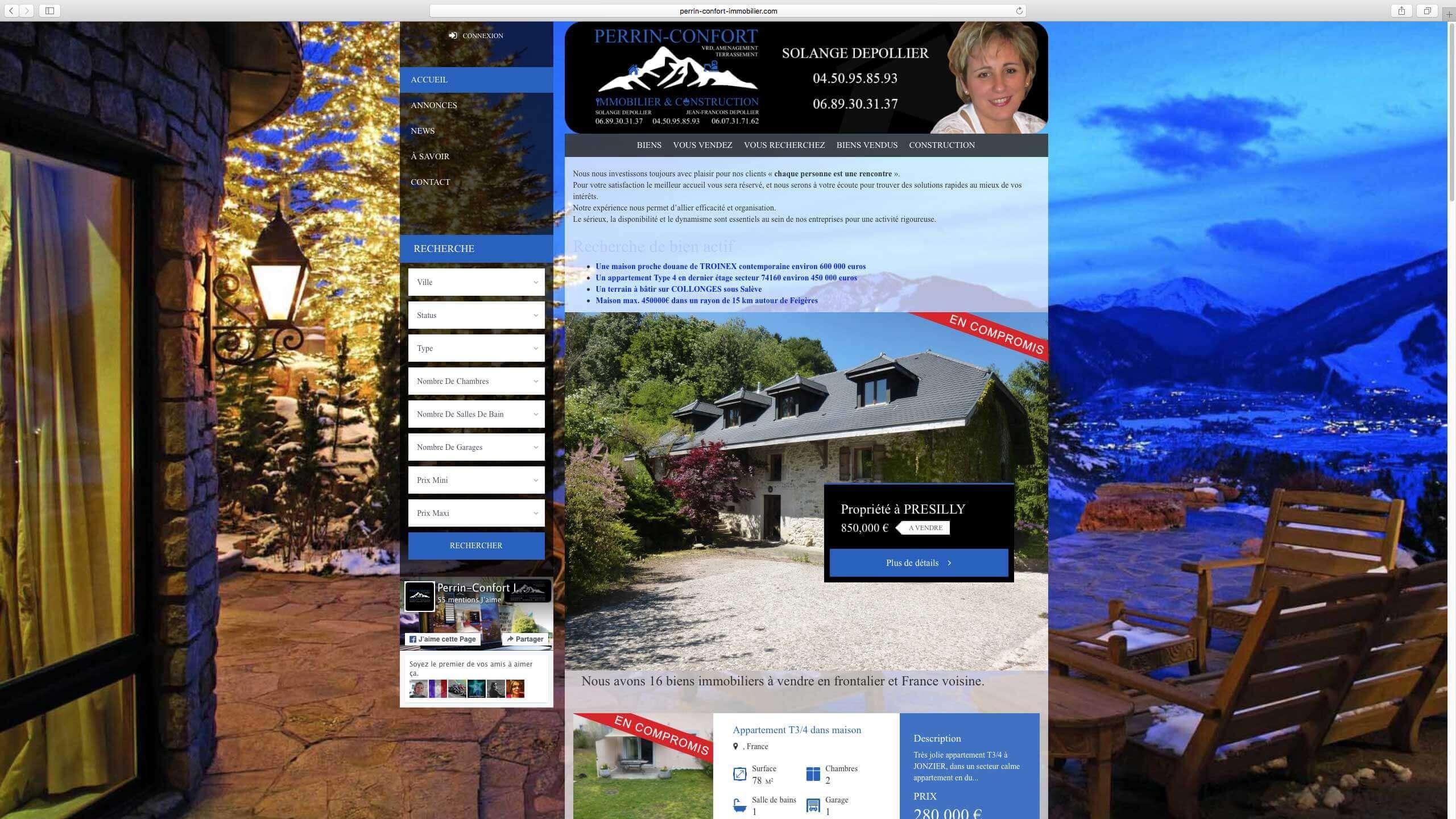 Capture d'écran du site internet Perrin-Confort Immobilier réalisé par Kevin de Sousa