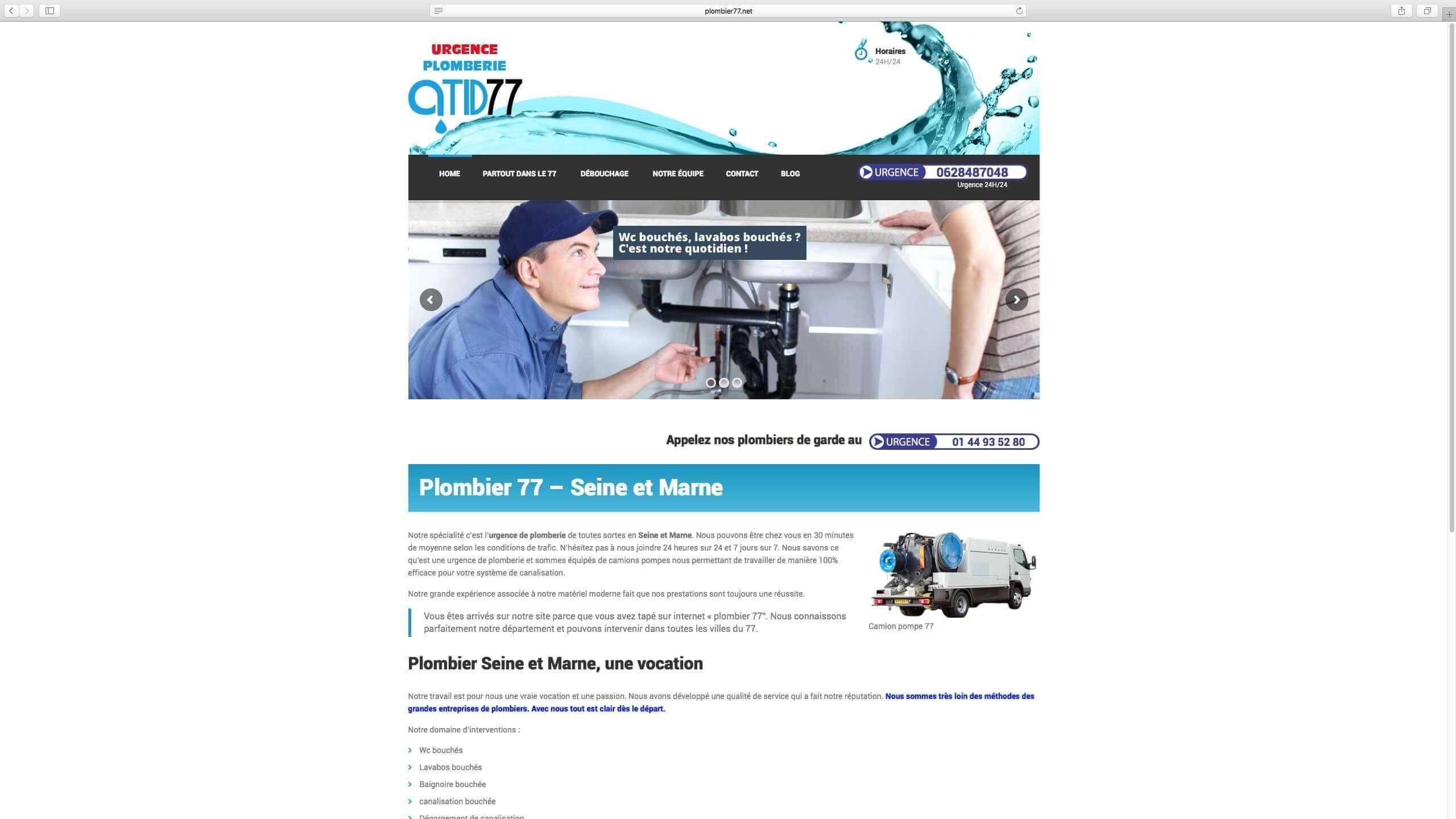 Capture d'écran du site internet Plombier77 réalisé par Kevin de Sousa