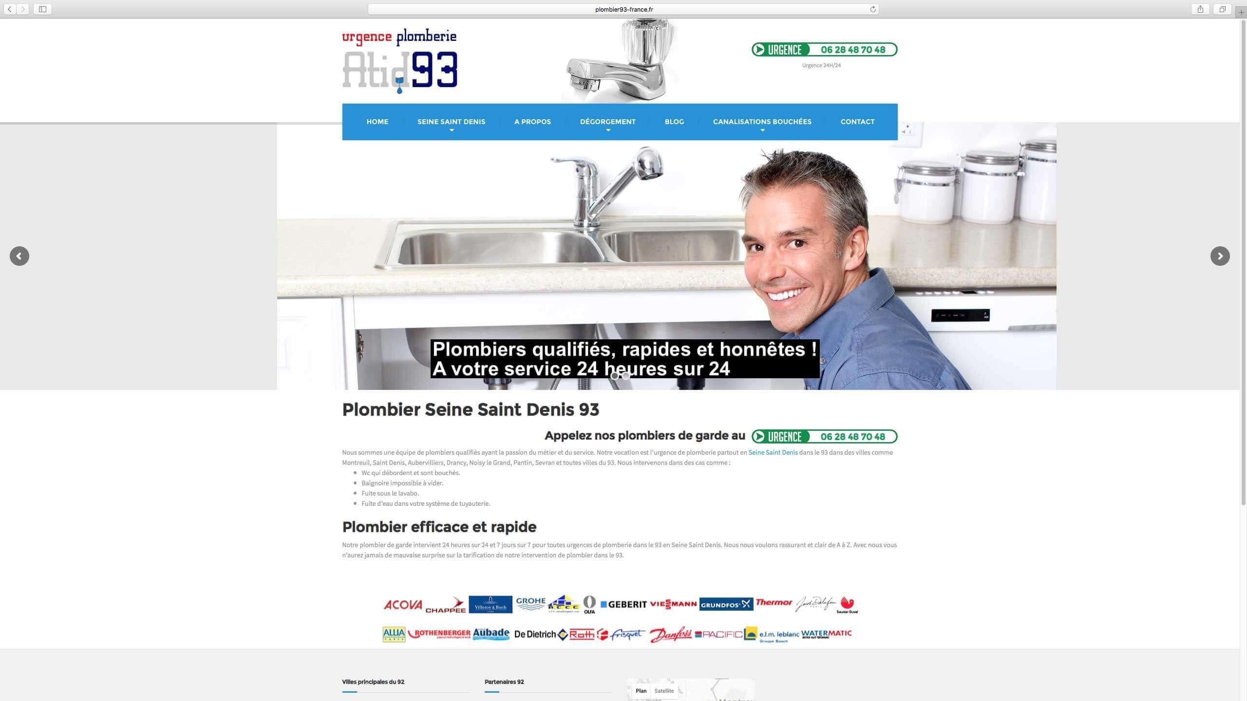 Capture d'écran du site internet Plombier93 réalisé par Kevin de Sousa