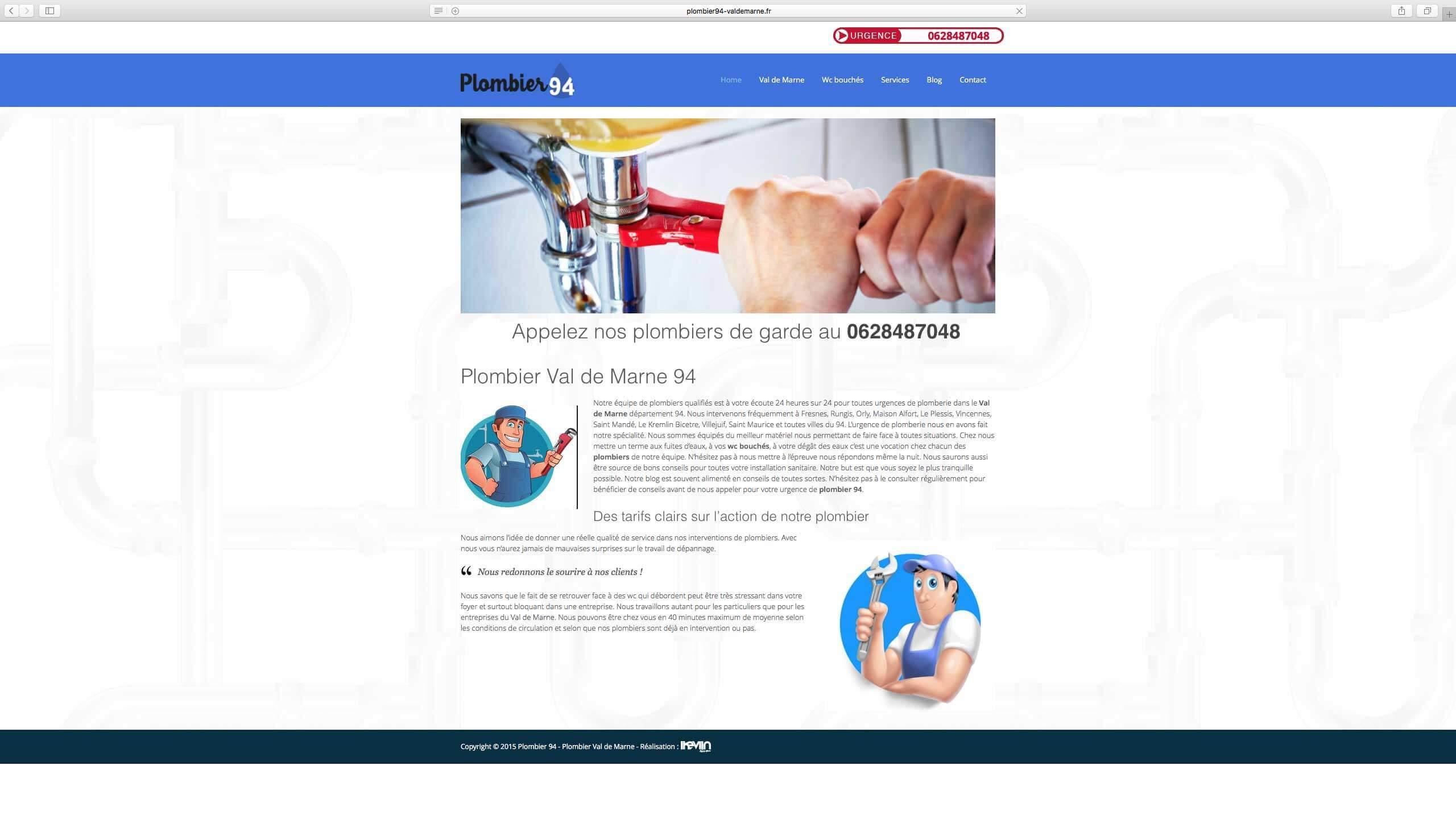 Capture d'écran du site internet Plombier94 réalisé par Kevin de Sousa