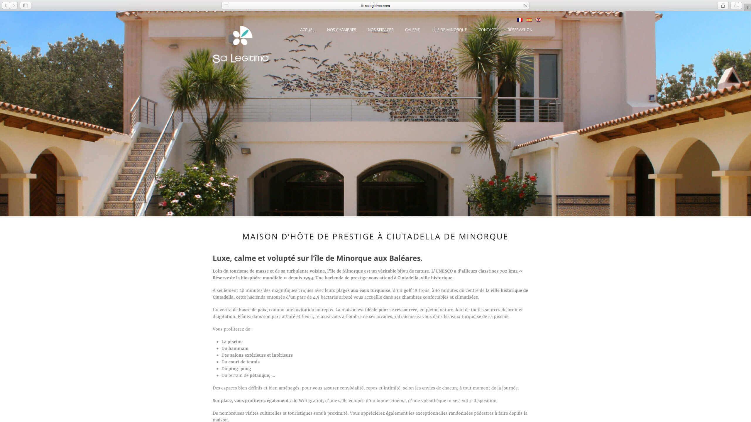 Capture d'écran du site internet SA Legitima réalisé par Kevin de Sousa