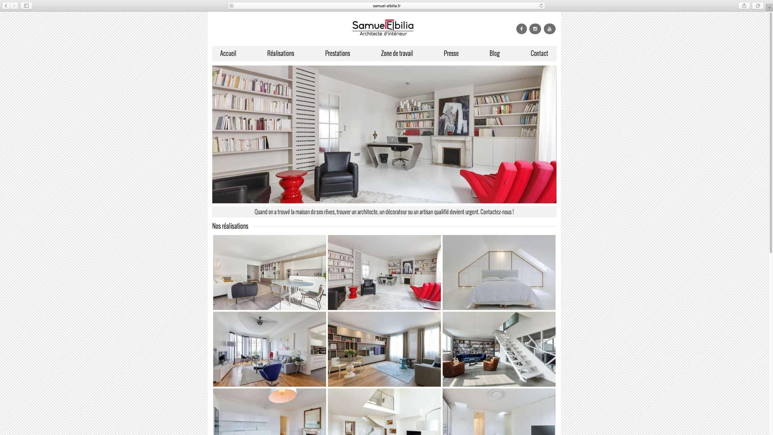Capture d'écran du site internet Samuel Elbilia réalisé par Kevin de Sousa
