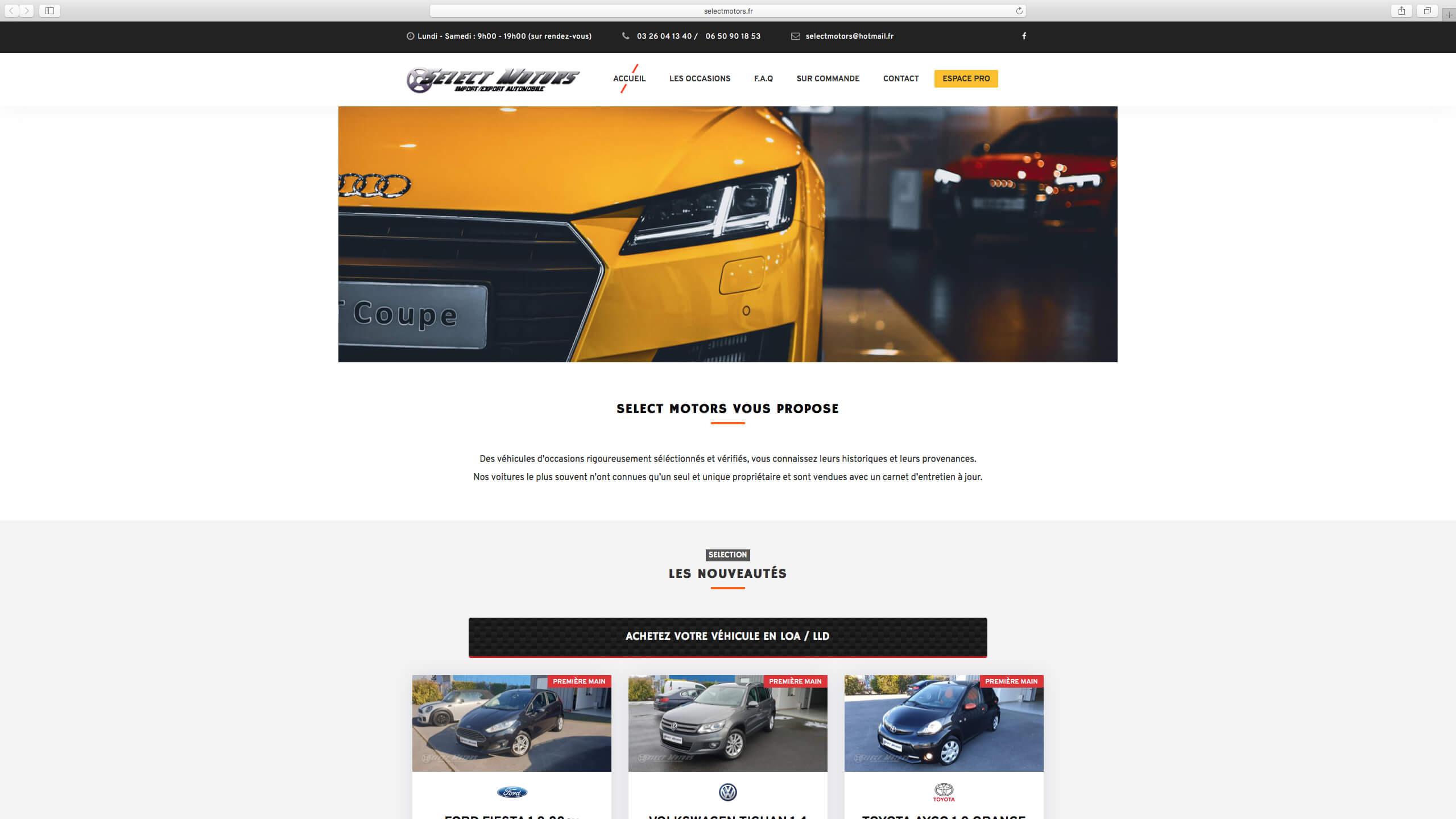 Capture d'écran du site internet Select Motors réalisé par Kevin de Sousa