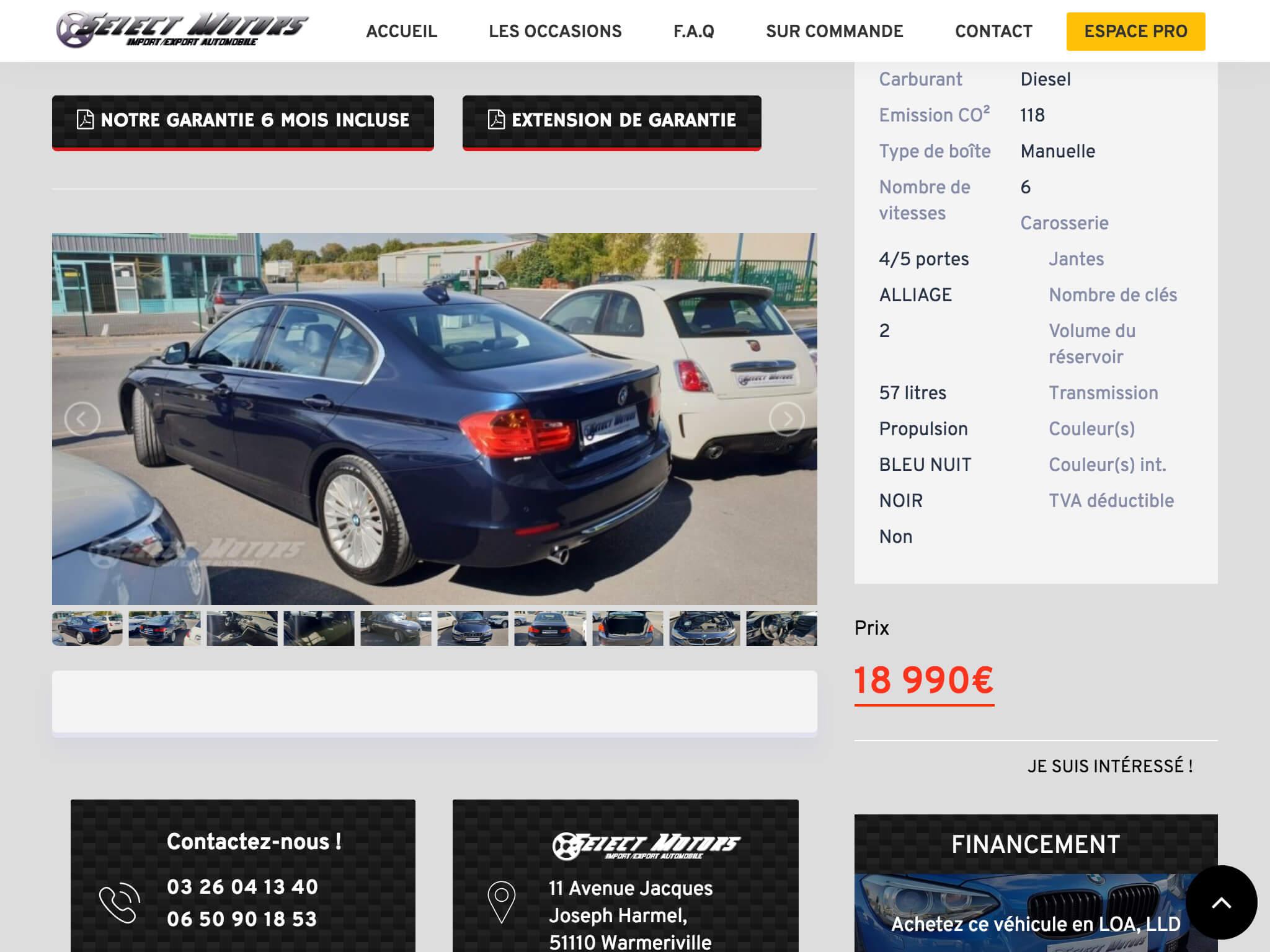 Capture d'écran du site internet Select Motors sur iPad réalisé par Kevin de Sousa