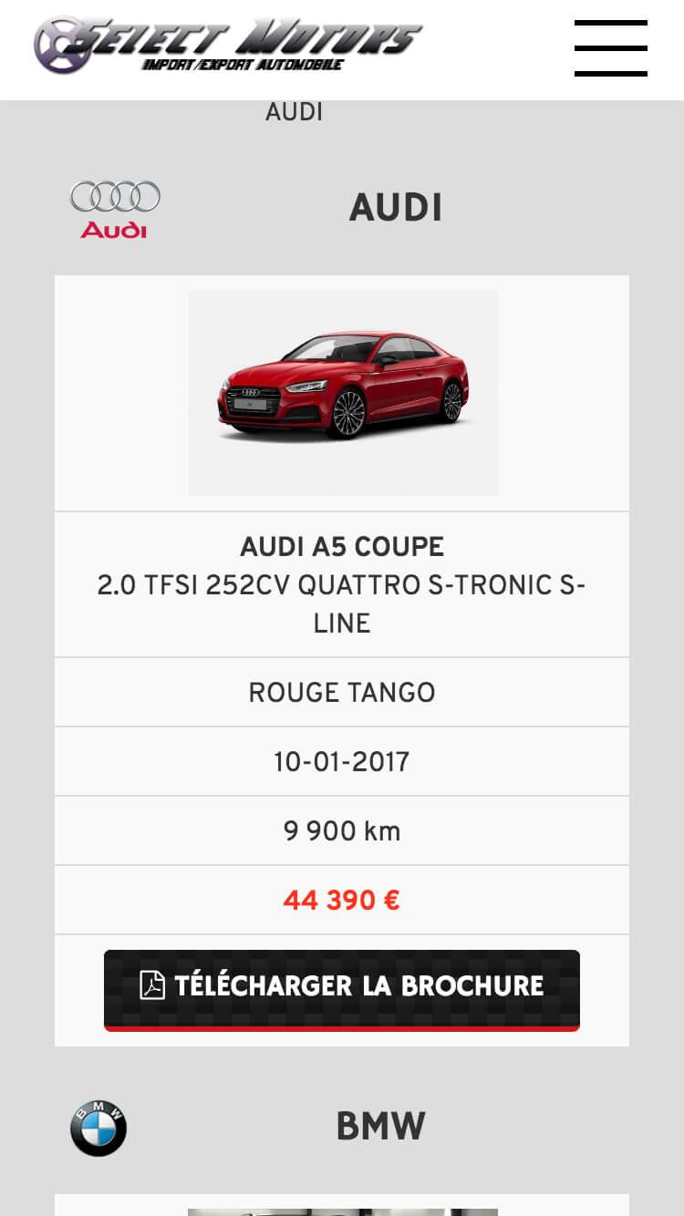 Capture d'écran du site internet Select Motors sur iPhone réalisé par Kevin de Sousa