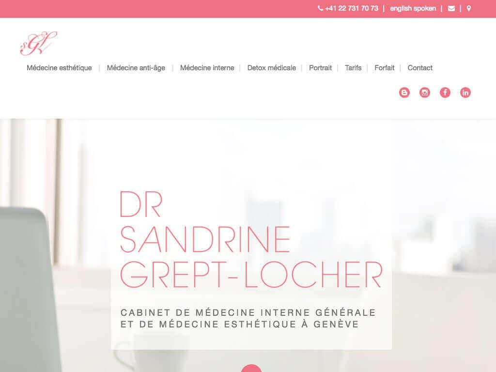 Capture d'écran du site internet SGL Esthétique sur iPad réalisé par Kevin de Sousa