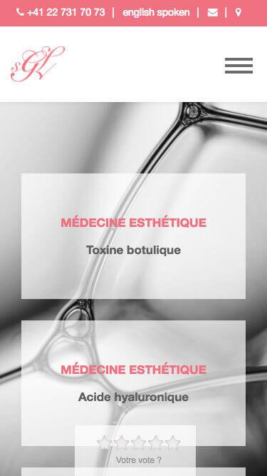 Capture d'écran du site internet SGL Esthétique sur iPhone réalisé par Kevin de Sousa