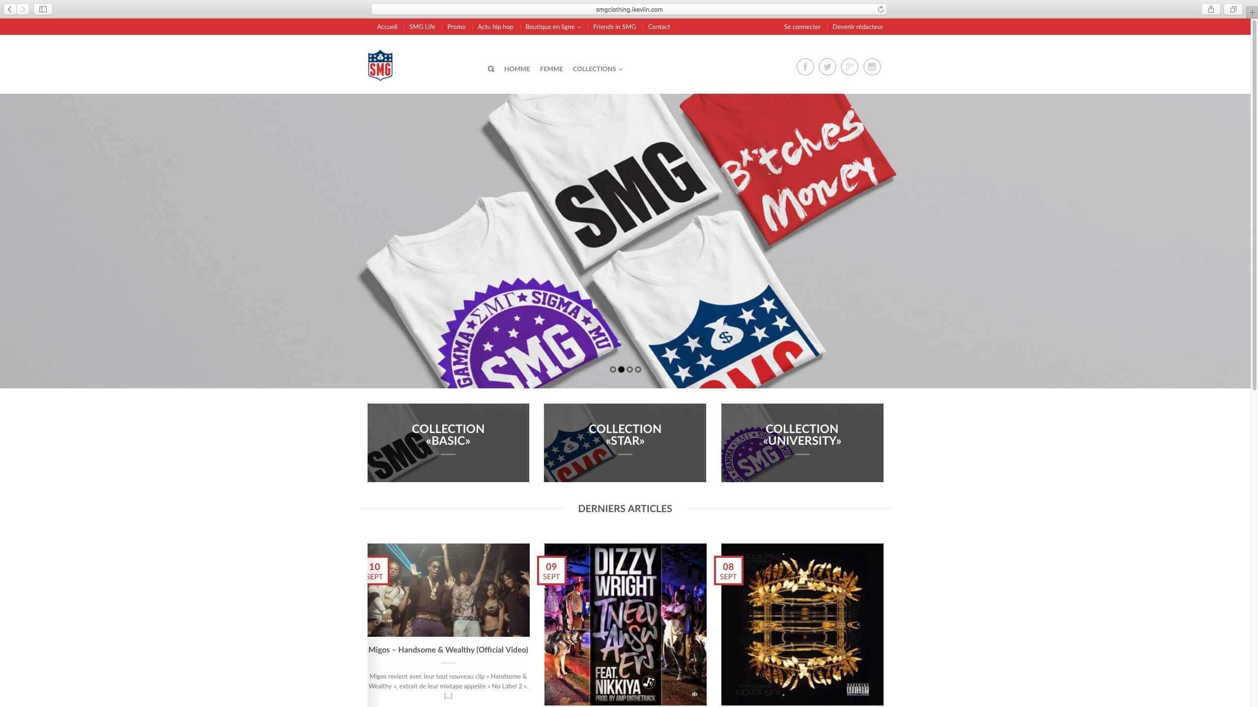 Capture d'écran du site internet SMGClothing réalisé par Kevin de Sousa