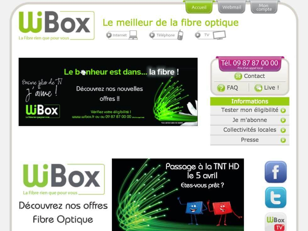 Capture d'écran du site internet Wibox sur un iPad