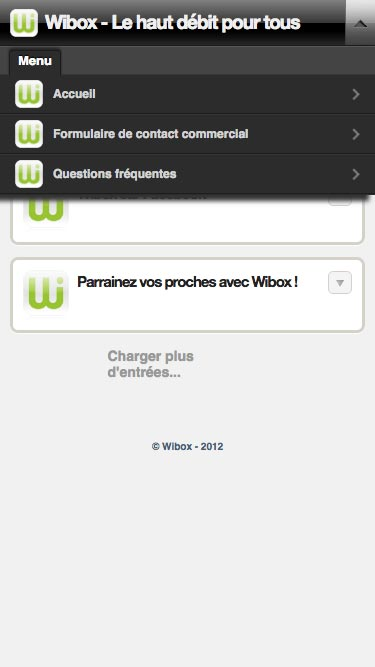 Capture d'écran du site internet Wibox sur un iPhone
